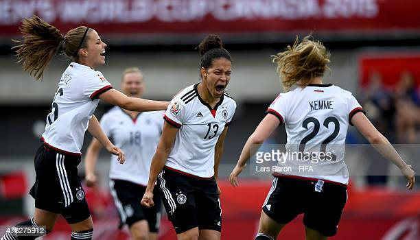 Celia Sasic of Germany celebrates after scoring her teams first goal during the FIFA Women's World Cup 2015 Group B match between Germany and Cote...