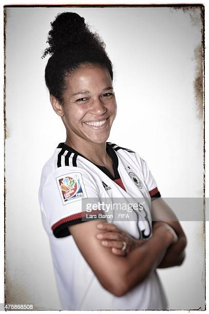 Celia Sasic of Germany poses during the FIFA Women's World Cup 2015 portrait session at Fairmont Chateau Laurier on June 3, 2015 in Ottawa, Canada.