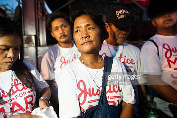 Celia Veloso the mother of convicted Filipina death row inmate Mary Jane Veloso attends a protest rally during international labor day on May 1 2015...
