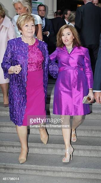 Celia Villalobos and Soraya Saenz de Santamaria attend the wedding of Rocio Posada and Jose Rubio Vela at San Manuel and San Benito church on July 5...