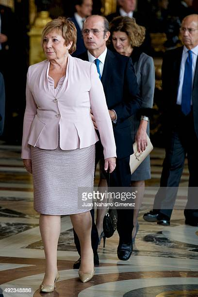 Celia Villalobos attends Spain's National Day royal reception at Royal Palace in Madrid on October 12 2015 in Madrid Spain
