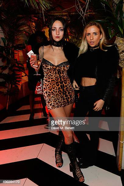 Celia Weinstock and Angelica Mandy attend SUSHISAMBA third anniversary celebration with an Amazonian themed Carnaval party at Sushi Samba on November...