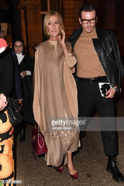 Celin Dion is seen arriving at Valentino fashion show during Paris Fashion Week Haute Couture Spring Summer 2020 on January 23 2019 in Paris France