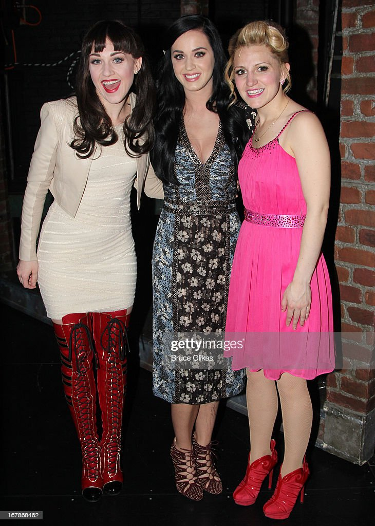 Celina Carvajal, Katy Perry and Annaleigh Ashford pose backstage at the Tony Nominated hit musical 'Kinky Boots' on Broadway at The Al Hirshfeld Theater on May 1, 2013 in New York City.