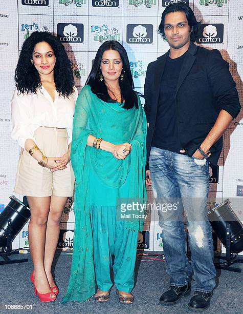 Celina Jaitley fashion designers Masaba Gupta and Swapnil Shinde poses as part of the promotional event for 'Let's Design' season 3 and Cotton...