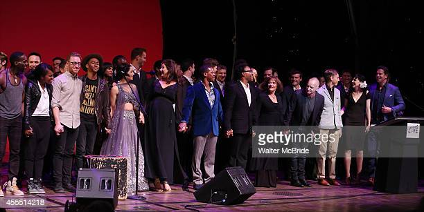 Celina Jaitly Stephanie J Block Billy Porter Patti LuPone Sting Vlad Lena Hall Thomas Roberts and cast performing at 'Uprising Of Love A Benefit...