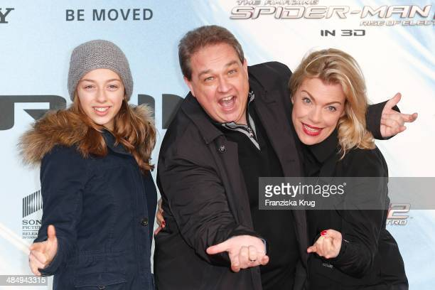 Celina Kalkofe Oliver Kalkofe and Connie Kalkofe attend the 'The Amazing SpiderMan 2 Rise Of Electro' Berlin Premiere at Sony Center on April 15 2014...