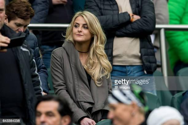 Celina Kramer looks on during the Bundesliga match between Borussia Moenchengladbach and RB Leipzig at BorussiaPark on February 19 2017 in...