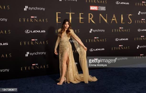 "Celina Sharma attends Marvel Studios' ""Eternals"" premiere on October 18, 2021 in Los Angeles, California."