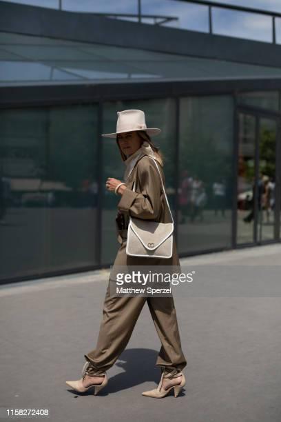 Celine Aagaard is seen on the street during men's Paris Fashion Week wearing Kenzo on June 23, 2019 in Paris, France.