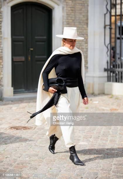 Celine Aagaard is seen wearing creme white hat outside Designers Remix during Copenhagen Fashion Week Spring/Summer 2020 on August 08, 2019 in...