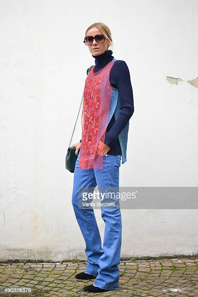 Celine Aagaard poses before the MSGM show during the Milan Fashion Week Spring/Summer 16 on September 27 2015 in Milan Italy