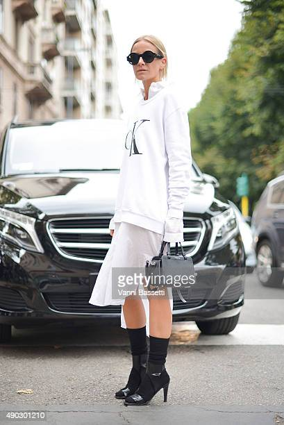 Celine Aagaard poses wearing a Calvin Klein sweatshirt after the Marni show during the Milan Fashion Week Spring/Summer 16 on September 27 2015 in...