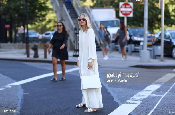 Celine Aagaard wearing a Celine bag Hermes shoes Cartier clock during the New York Fashion Week on September 13 2017 in New York