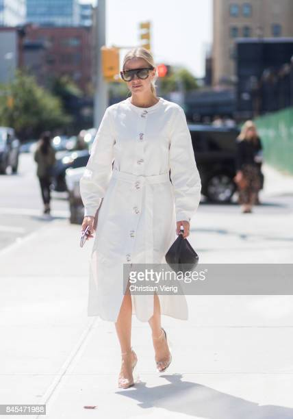 Celine Aagaard wearing a white dress seen in the streets of Manhattan outside Tome during New York Fashion Week on September 10 2017 in New York City