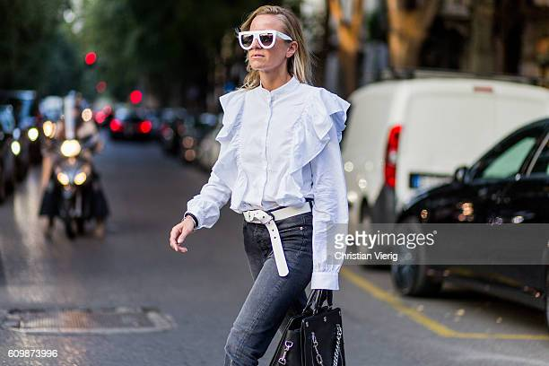Celine Aargaard outside Prada during Milan Fashion Week Spring/Summer 2017 on September 22 2016 in Milan Italy