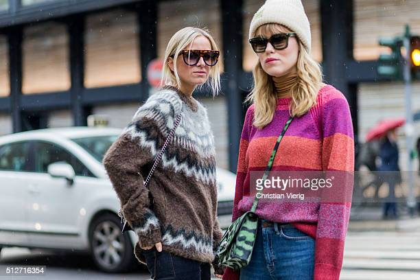 Celine Aargaard wearing a sweater a Gucci bag and navy jeans and Annabel Rosendahl wearing a sweater and a Givenchy bag seen outside Blumarine during...