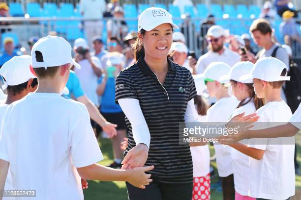 Celine Boutier of France arrives for her winners trophy presentaion during Day four of the ISPS Handa Vic Open at 13th Beach Golf Club on February 10...