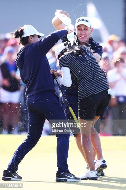 Celine Boutier of France celebrates he win on the 18th green during Day four of the ISPS Handa Vic Open at 13th Beach Golf Club on February 10 2019...