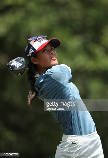 Celine Boutier of France hits a tee shot on the first hole during the third round of the US Women's Open Championship at the Country Club of...