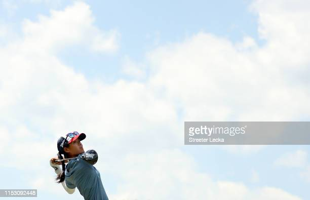 Celine Boutier of France hits a tee shot on the fourth hole during the third round of the US Women's Open Championship at the Country Club of...