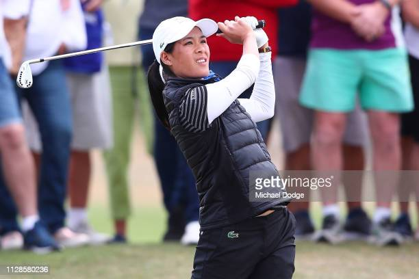 Celine Boutier of France hits an approach shot during Day four of the ISPS Handa Vic Open at 13th Beach Golf Club on February 09 2019 in Geelong...