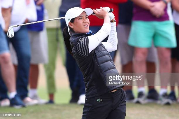 Celine Boutier of France hits an approach shot during Day four of the ISPS Handa Vic Open at 13th Beach Golf Club on February 10 2019 in Geelong...
