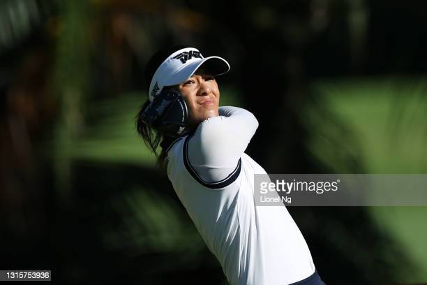Celine Boutier of France hits her tee shot on the 2nd hole during the final round of the HSBC Women's World Championship at Sentosa Golf Club on May...