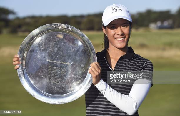Celine Boutier of France holds the trophy after winning the joint LPGA and EPGA tour Vic Open golf tournament at the 13th Beach Golf Links at Barwon...