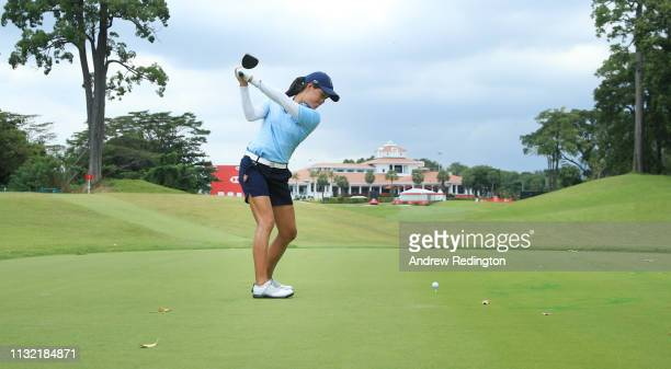 Celine Boutier of France plays a shot from the 18th tee during a practice round prior to the HSBC Women's World Championship at Sentosa Golf Club on...