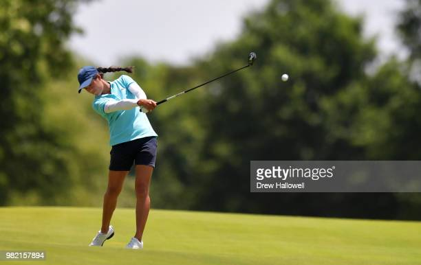So Yeon Ryu of South Korea lines up a putt on the 15th hole during the second round of the Walmart NW Arkansas Championship Presented by PG at...
