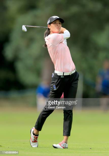 Celine Boutier of France plays her second shot on the par 4 first hole during the third round of the AIG Women's British Open on the Marquess Course...