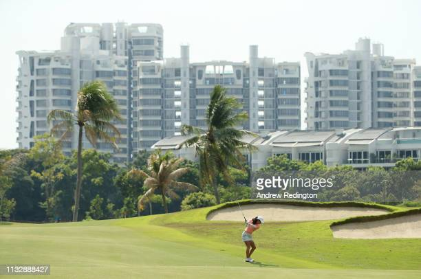 Celine Boutier of France plays her second shot on the second hole during the second round of the HSBC Women's World Championship at Sentosa Golf Club...