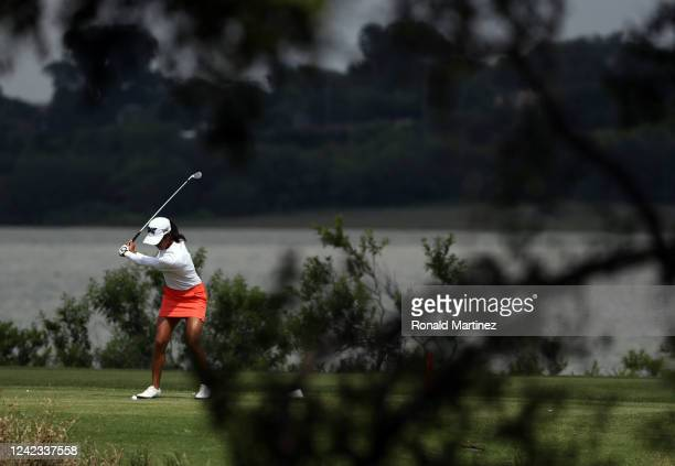 Celine Boutier of France plays her shot from the 11th tee during the first round of the Energy Producers Inc Texas Women's Open on June 02 2020 in...
