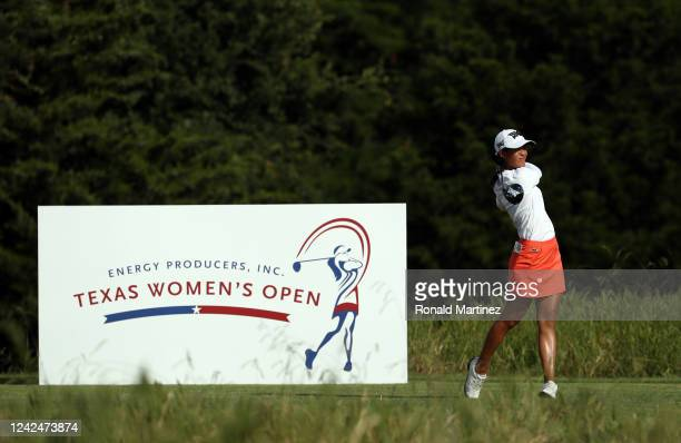 Celine Boutier of France plays her shot from the 18th tee during the first round of the Energy Producers Inc Texas Women's Open on June 02 2020 in...