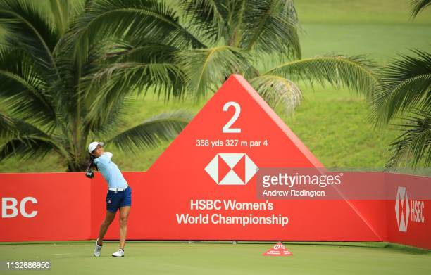 Celine Boutier of France plays her shot from the second tee during the first round of the HSBC Women's World Championship at Sentosa Golf Club on...
