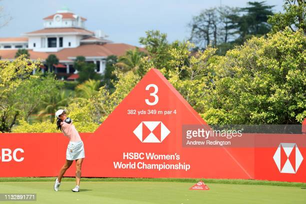 Celine Boutier of France plays her shot from the third tee during the second round of the HSBC Women's World Championship at Sentosa Golf Club on...