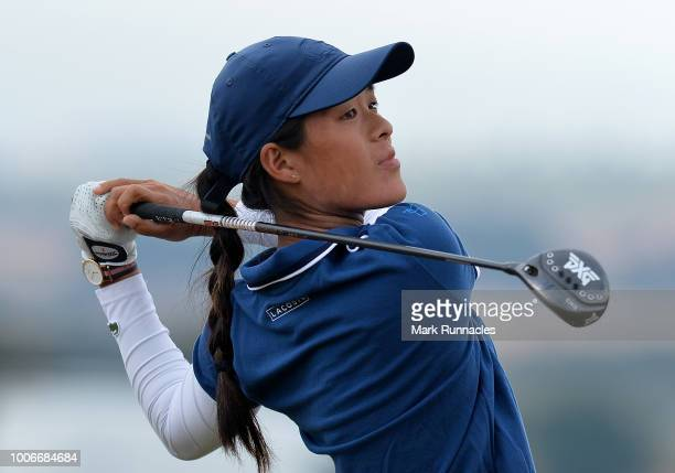 Celine Boutier of France plays her tee shot at the 1st hole during the third day of the Aberdeen Ladies Scottish Open at Gullane Golf Course on July...