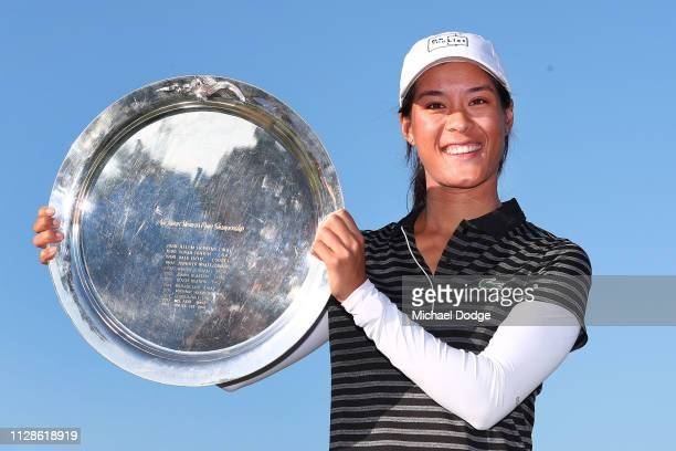 Celine Boutier of France poses with her winners trophy during Day four of the ISPS Handa Vic Open at 13th Beach Golf Club on February 10 2019 in...
