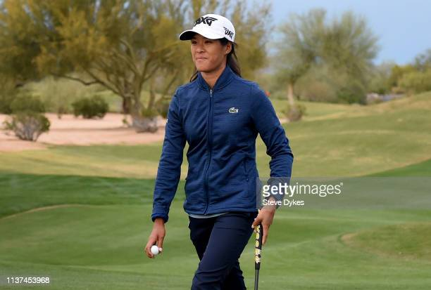 Celine Boutier of France reacts after sinking a putt on the ninth hole to take the lead during the first round of the Bank of Hope Founders Cup at...