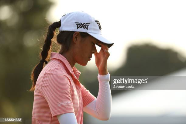 Celine Boutier of France reacts on the 18th green during the final round of the US Women's Open Championship at the Country Club of Charleston on...