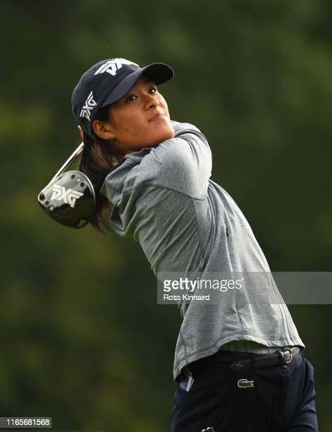 Celine Boutier of France tees off on the 4th hole during Day Two of the AIG Women's British Open at Woburn Golf Club on August 02 2019 in Woburn...