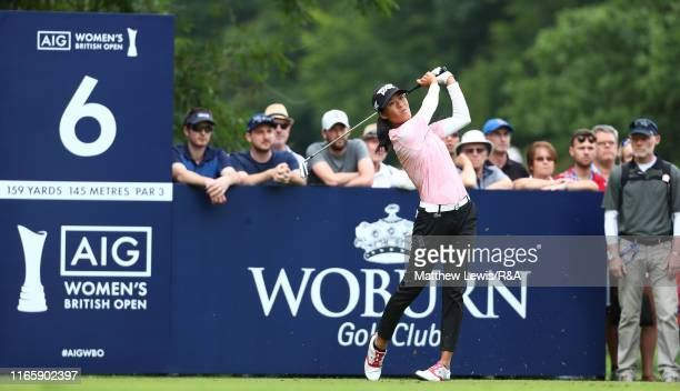 Celine Boutier of France tees off on the 6th hole during Day Three of the AIG Women's British Open at Woburn Golf Club on August 03 2019 in Woburn...