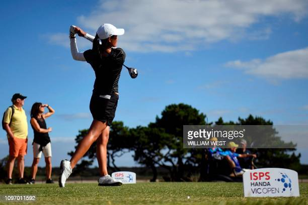 Celine Boutier of France tees off on the way to winning the joint LPGA and EPGA tour Vic Open golf tournament at the 13th Beach Golf Links at Barwon...