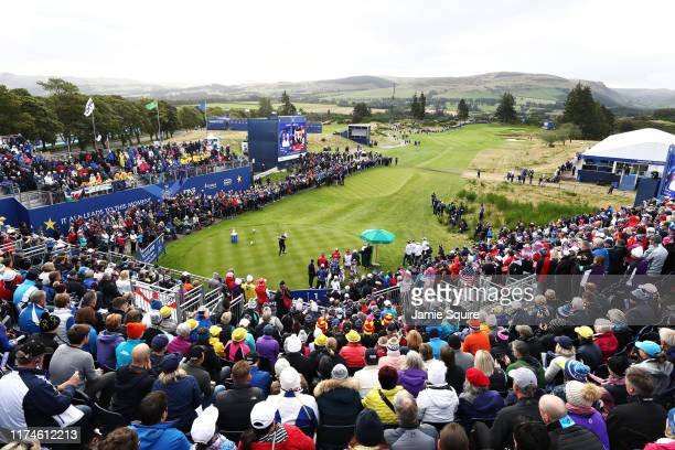 Celine Boutier of Team Europe plays her shot from the first tee during Day 2 of the Solheim Cup at Gleneagles on September 14, 2019 in Auchterarder,...