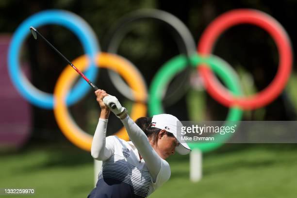 Celine Boutier of Team France plays her shot from the 16th tee during the first round of the Women's Individual Stroke Play on day twelve of the...