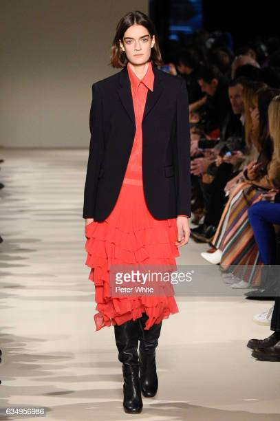 Celine Delaugere walks the runway at Victoria Beckham show during New York Fashion Week on February 12 2017 in New York City