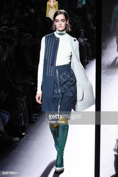 Celine Delaugere walks the runway during the Hermes show as part of the Paris Fashion Week Womenswear Fall/Winter 2017/2018 on March 6 2017 in Paris...