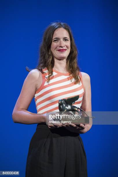 Celine Devaux wins the Orizzonti Prize for Best Short Film with the film 'Gros Chagrin' during Ceremony Awards of the 74th Venice International Film...