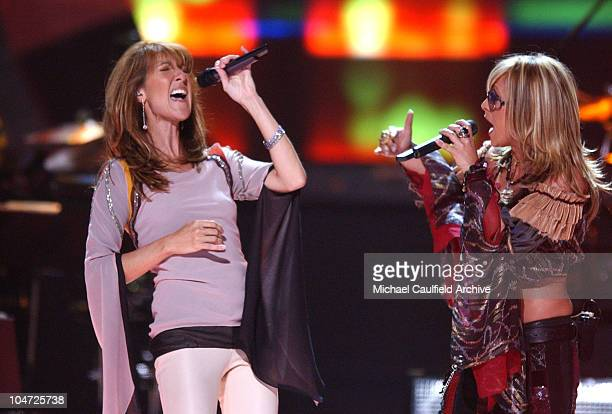 Celine Dion Anastacia during VH1 Divas 2002 Show at MGM Grand Arena in Las Vegas Nevada United States